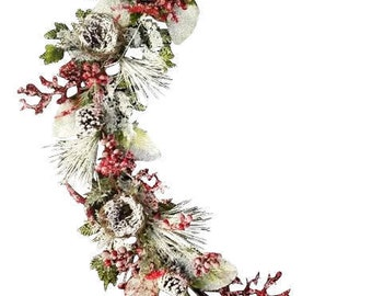 "60"" Snow Pine/Pine Cone/Berry Garland"