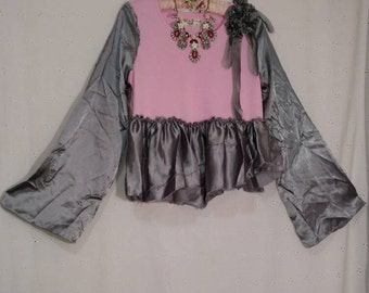 Clearance GLAMOUR TEE SATIN Shirt, Altered Couture, Crop Top, Pink And Gray, Art To Wear, Ooak, Boho, Shabby Chic