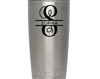 Yeti Decal Split initial monogram name decal for Yeti Rambler Tumbler 20oz 30oz cup travel mug -yeti name decal- custom name-