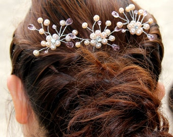 pearl hair comb, bridal pearl hair comb, ivory pearl hair comb, wedding pearl hair comb, mother of pearl hair comb, pink pearl  hair comb