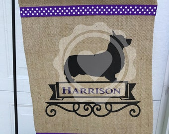 Corgi/Dog/Personalized Garden Flag