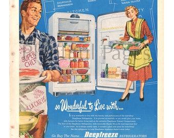 1951 Deepfreeze Refrigerators Vintage Ad 1950s Couple Retro Refrigerator Advertising Art
