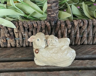 hand sculpted ewe and lamb