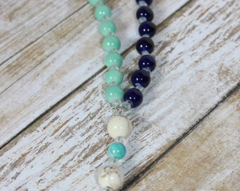 Patchwork Protestant Prayer beads w/ Golden Cross