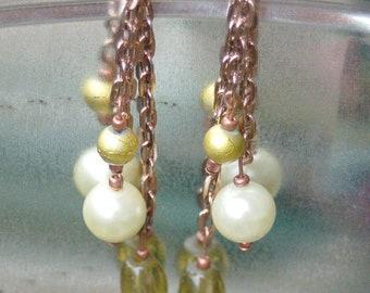 Copper Green & Golden Chain Drop Earrings