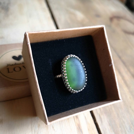 Sterling silver Seaham seaglass ring, size L UK