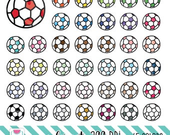 45 Doodle Socker Ball Clipart. Personal and comercial use.