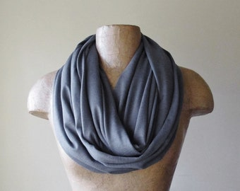 SLATE GREY Infinity Scarf,  Gray Circle Scarf, Jersey Knit Tube Scarf, Lightweight Loop Scarf