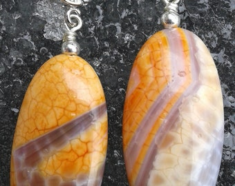 Fire agate and sterling silver earrings