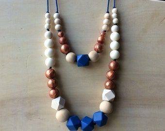 NEW Copper pearl silicone and natural wood- Geometric Bead Teething Necklace