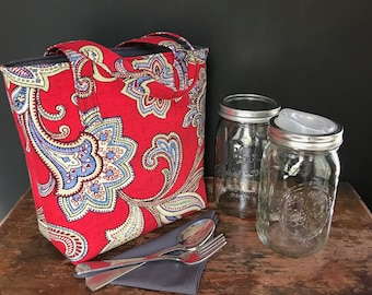 READY TO SHIP Quart mason jar carrier bag, red paisley 2 jar print lunch tote cozy
