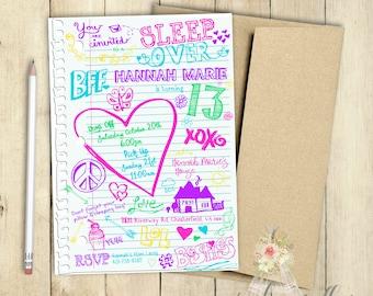 Sleep Over Invitation Notebook Doodles Slumber Party Invitation Birthday Party Invitation PRINTABLE Hearts Peace School Doodles Skeches