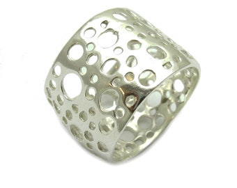 Sterling silver ring wide plain band solid 925 pendant