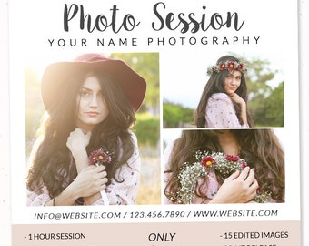 Instagram Template Spring Mini Session Digital Template Photoshop Mini Sessions PSD Senior Template Now Booking Editable Marketing Template