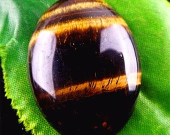 Natural brown Tiger eye oval cab.  Dark Brown cabochon pendant size 40x30x6 mm. MMA