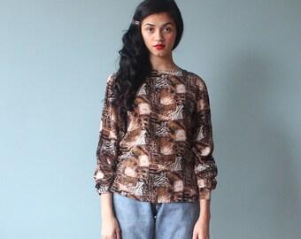 SALE silk blouse / leopard print top / silk long sleeve shirt / 1980s / small - medium