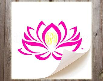Monogrammed Lotus Vinyl Decal