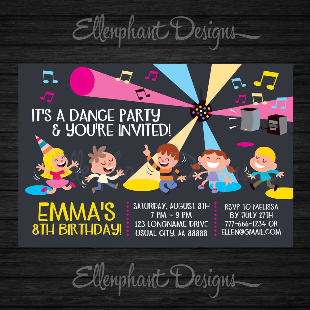 Dance Party Birthday Invitation Disco invitation Dance party