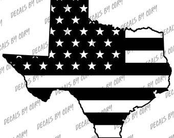 Texas State US Flag Outline Car Decal Houston San Antonio Dallas Austin Fort Worth El Paso