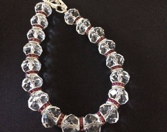 Clear Crystal and Pink Spacer Bracelet