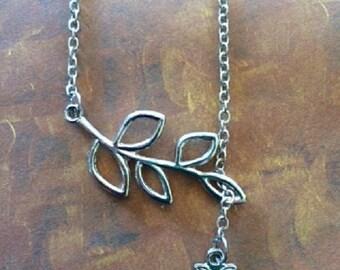 SALE - CLEARANCE - Owl Necklace - Owl Jewelry - Owl Jewlery - Silver Owl Necklace - Silver Owl Pendant -  Silver Leaf Necklace - Owl Pendant