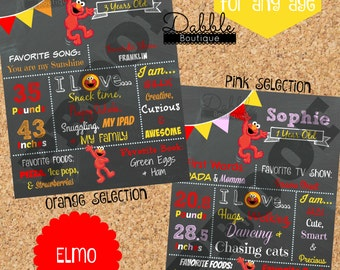 Elmo Birthday Chalkboard / 1st birthday chalkboard / 2nd birthday chalkboard/ sesame street board / Elmo Birthday Board