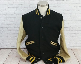 Vintage Black Letterman Jacket with Yellow Stripe Cream Leather Sleeve Whiting