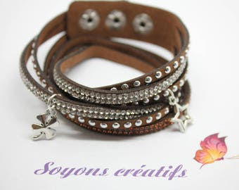 Bracelet Brown rhinestone silver charms - jewelry Creations - Kit