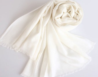 Large Wool cashmere Scarf - OffWhite Wool Scarf - 80 Thread Count Wool Scarf - Solid Color Wool Scarf - BS201