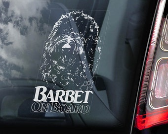 Barbet on Board - Car Window Sticker - French Water Dog Sign Decal - V01