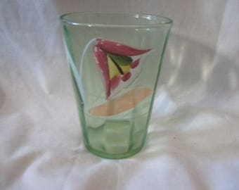 """Excellent APPLIED ENAMEL Floral Green PANELED Tumbler 4"""" Late 1800's Home Decor Drinkware Glass"""