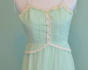 70s Prairie Dress Tiered Maxi Dress Minty Green Sundress Spaghetti Strap Hippie Boho Festival Dress Size 7/8