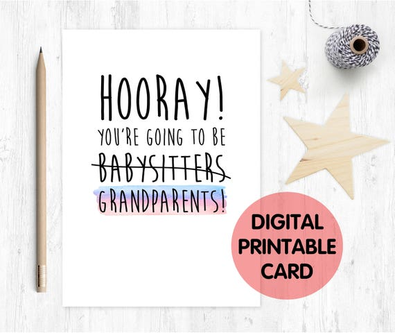 hooray you're going to be grandparents, funny grandparents card, new grandparents card, grandparents first time, new grandma, new grandad