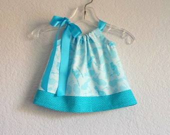 Baby Girls Turquoise Easter Dress - Blue Birds and Polka-Dots - Infant Sun Dress and Bloomers Outfit - Size Nb, 3m, 6m, 9m, 12m or 18m
