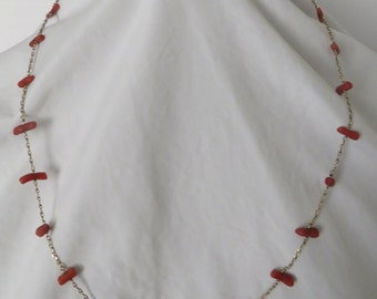 "Vintage 14 kt Gold Chain Natural Red Coral Branch 22"" Necklace."