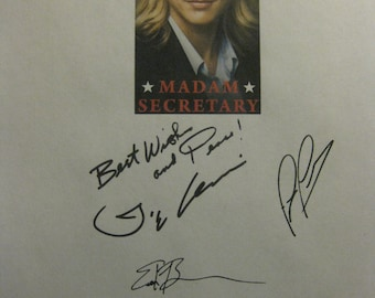 Madam Secretary Signed TV Script screenplay X5 Autographs Tea Leoni Tim Daly Patina Miller Geoffrey Arend Erich Bergen signatures reprint