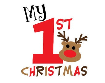 My First Christmas Reindeer Cut File - Cute Digital Clipart (SVG & PNG)