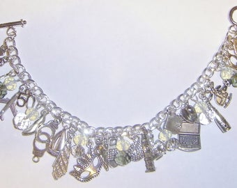 Silver Plated 'Fifty Shades of Grey' Inspired Charms Bracelet