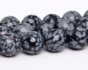 """8MM Faceted Cristobalite Snowflake Obsidian Natural Gemstone Half Strand Round Loose Beads 7.5"""" (100859h-336)"""