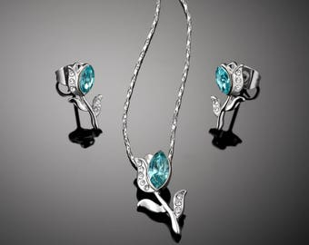 Tulip Necklace and Earring Set for girls - Swarovski Light Turquoise
