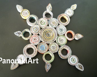 Star - handmade, coiled paper, recycled paper, recycled magazines, 3D, eco-friendly