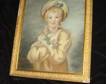Large French Painting of A Young Boy 19c
