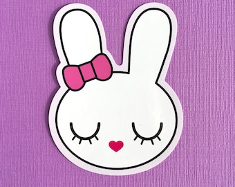 Bunny with Bow large laptop sticker - cute pink vinyl sticker - gifts for her - scrapbooking