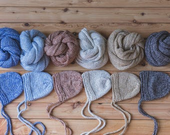 Newborn Wrap And Bonnet Set, Newborn Photo Props, Photo Props, Newborn props, Baby Wrap, Newborn Prop Set, Newborn Photo Set, Knit Wrap