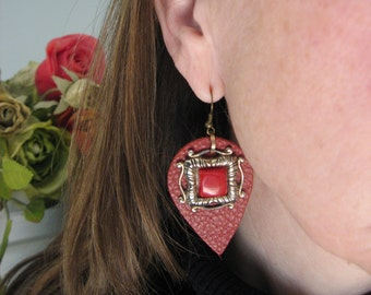 VINTAGE ACCENTED Russet Red Leather Tear Drop Earrings