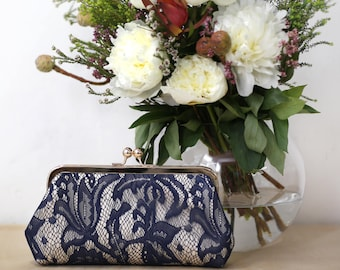 Champagne and Navy Lily Lace Bridal Clutch | Bridesmaid Clutch