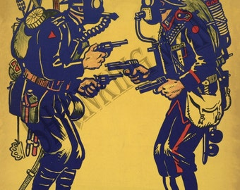 VINTAGE 1930's print - World War 2 (A4 and A5 mounted)