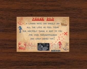 Nautical baby shower thank you card, nautical baby shower, pirate themed baby shower, pirate themed baby shower thank you card