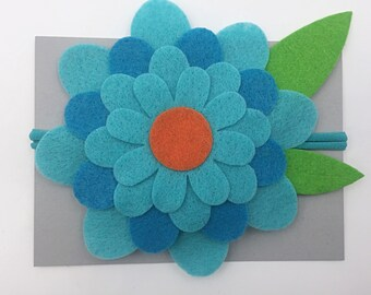 Large Bloom Blue Headband