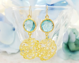 Long Dangle Gold Aquamarine Earrings - Gold Filigree Earrings - Round Blue Topaz Drop Earrings - Blue Crystal Earrings - Light Blue E1429